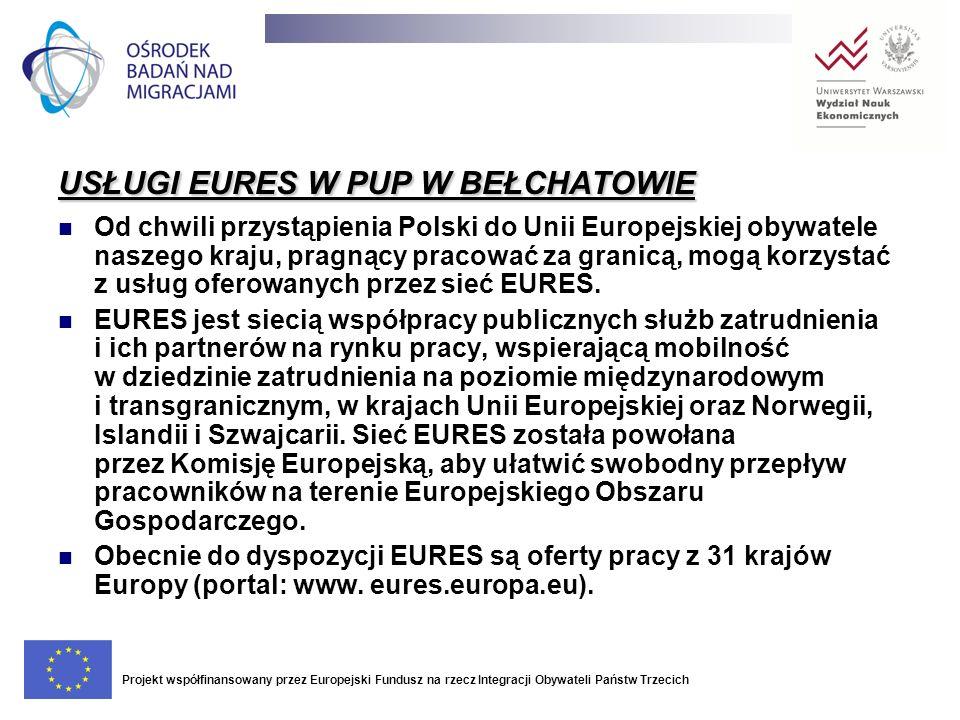USŁUGI EURES W PUP W BEŁCHATOWIE Od chwili przystąpienia Polski do Unii Europejskiej obywatele naszego kraju, pragnący pracować za granicą, mogą korzy