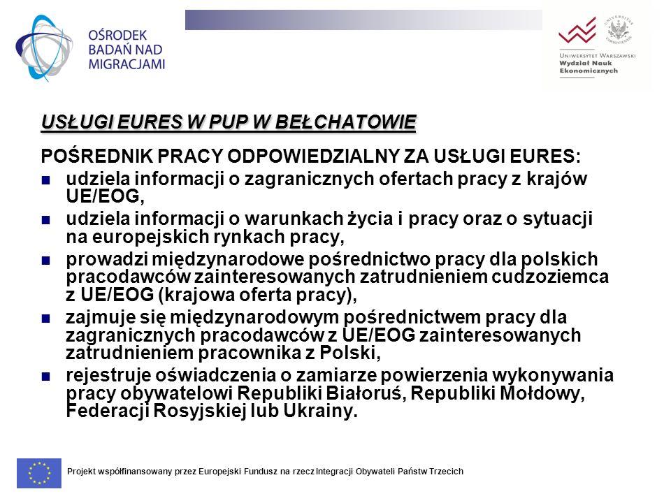 USŁUGI EURES W PUP W BEŁCHATOWIE POŚREDNIK PRACY ODPOWIEDZIALNY ZA USŁUGI EURES: udziela informacji o zagranicznych ofertach pracy z krajów UE/EOG, ud