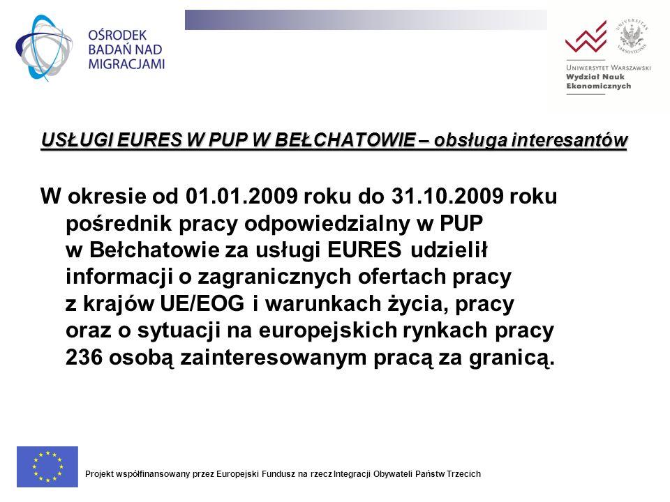 USŁUGI EURES W PUP W BEŁCHATOWIE – obsługa interesantów W okresie od 01.01.2009 roku do 31.10.2009 roku pośrednik pracy odpowiedzialny w PUP w Bełchat