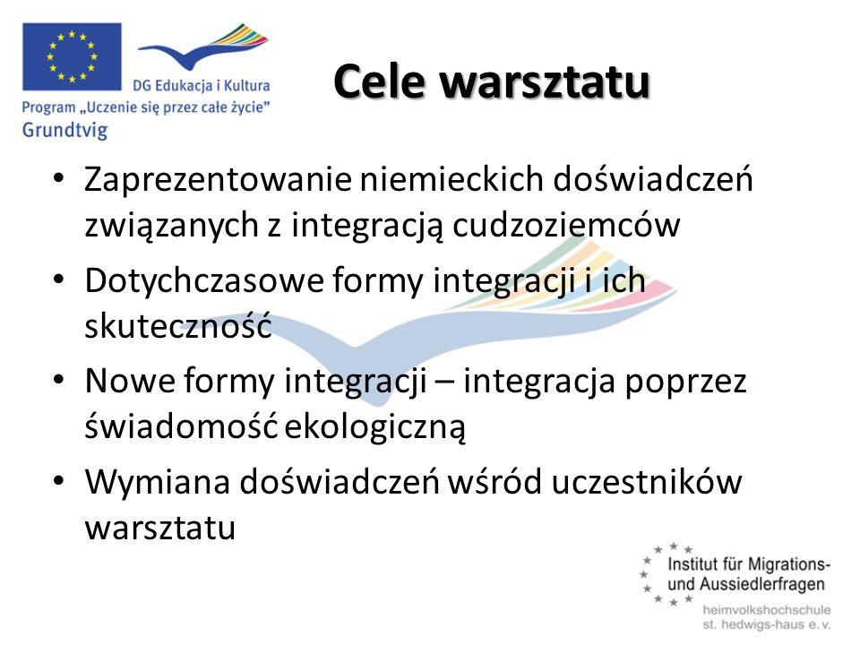 Cele warsztatu Zaprezentowanie niemieckich doświadczeń związanych z integracją cudzoziemców Dotychczasowe formy integracji i ich skuteczność Nowe formy integracji – integracja poprzez świadomość ekologiczną Wymiana doświadczeń wśród uczestników warsztatu