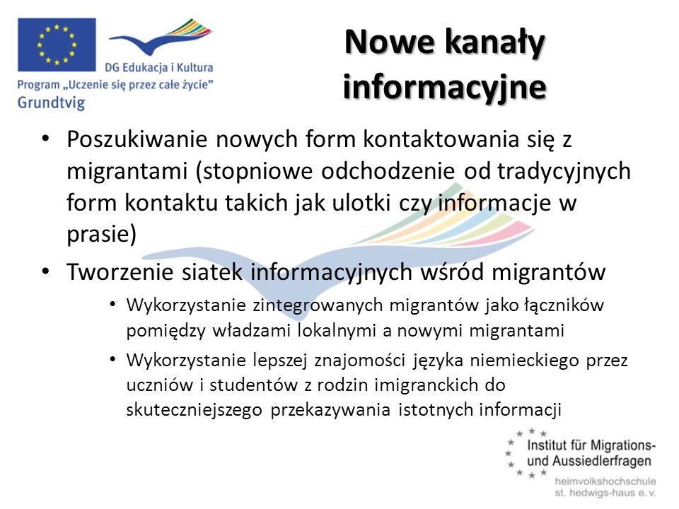 Nowe kanały informacyjne Poszukiwanie nowych form kontaktowania się z migrantami (stopniowe odchodzenie od tradycyjnych form kontaktu takich jak ulotki czy informacje w prasie) Tworzenie siatek informacyjnych wśród migrantów Wykorzystanie zintegrowanych migrantów jako łączników pomiędzy władzami lokalnymi a nowymi migrantami Wykorzystanie lepszej znajomości języka niemieckiego przez uczniów i studentów z rodzin imigranckich do skuteczniejszego przekazywania istotnych informacji
