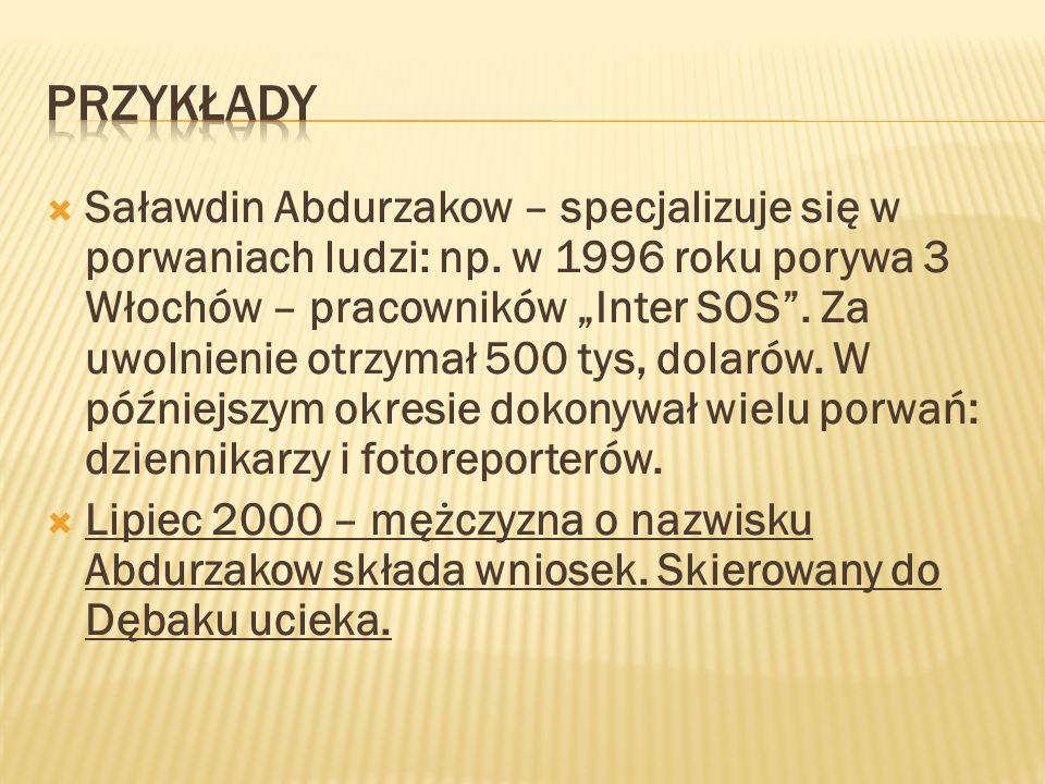 Saławdin Abdurzakow – specjalizuje się w porwaniach ludzi: np. w 1996 roku porywa 3 Włochów – pracowników Inter SOS. Za uwolnienie otrzymał 500 tys, d