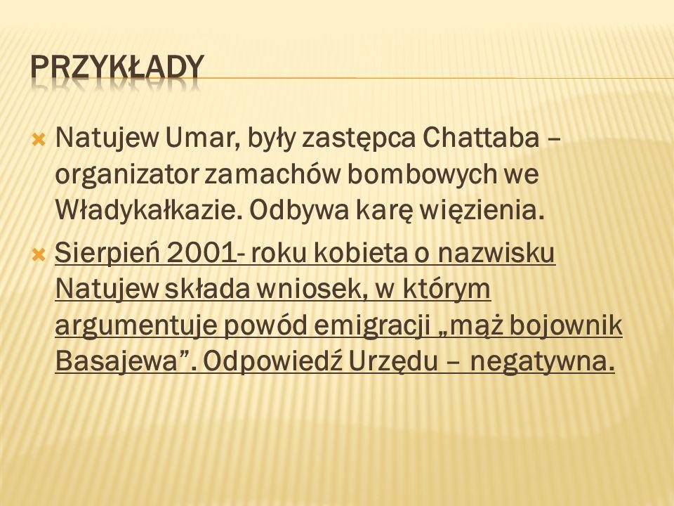 Natujew Umar, były zastępca Chattaba – organizator zamachów bombowych we Władykałkazie. Odbywa karę więzienia. Sierpień 2001- roku kobieta o nazwisku