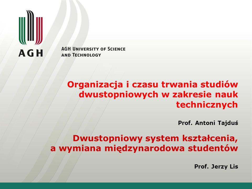 Organizacja i czasu trwania studiów dwustopniowych w zakresie nauk technicznych Prof.
