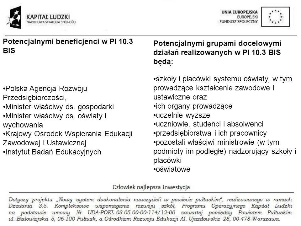Polska Agencja Rozwoju Przedsiębiorczości, Minister właściwy ds. gospodarki Minister właściwy ds. oświaty i wychowania Krajowy Ośrodek Wspierania Eduk