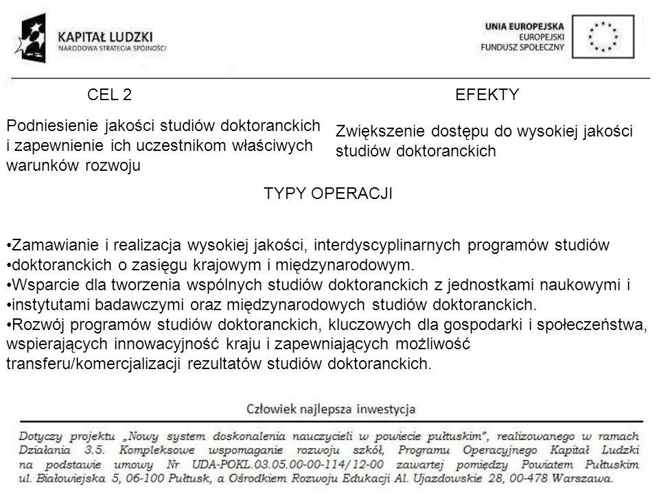 CEL 2EFEKTY TYPY OPERACJI Podniesienie jakości studiów doktoranckich i zapewnienie ich uczestnikom właściwych warunków rozwoju Zwiększenie dostępu do