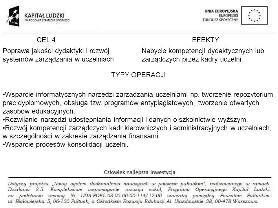 CEL 4EFEKTY TYPY OPERACJI Poprawa jakości dydaktyki i rozwój systemów zarządzania w uczelniach Nabycie kompetencji dydaktycznych lub zarządczych przez