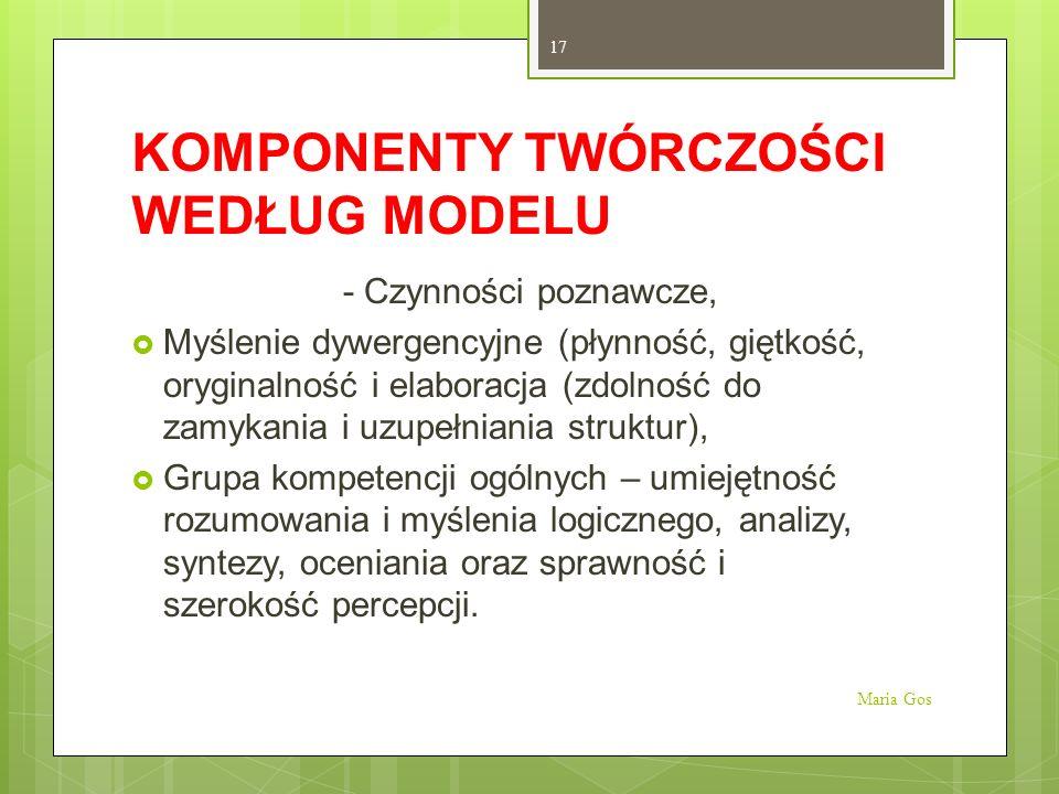 KOMPONENTY TWÓRCZOŚCI WEDŁUG MODELU - Czynności poznawcze, Myślenie dywergencyjne (płynność, giętkość, oryginalność i elaboracja (zdolność do zamykani