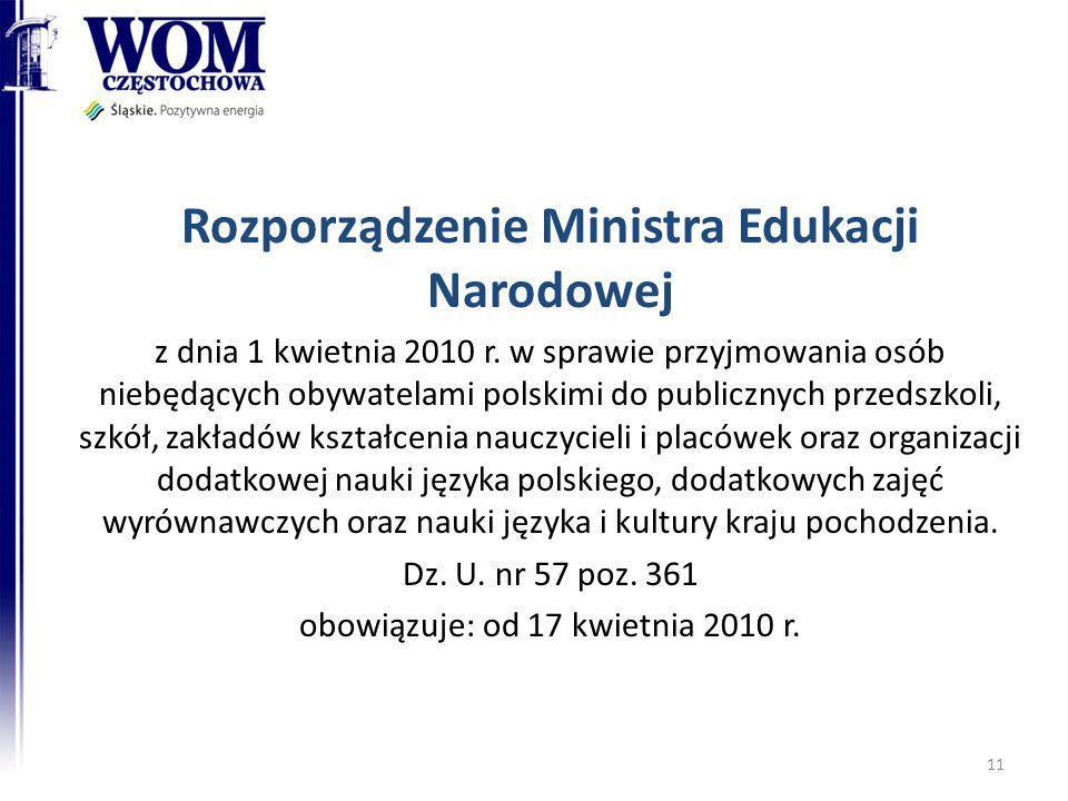 Rozporządzenie Ministra Edukacji Narodowej z dnia 1 kwietnia 2010 r. w sprawie przyjmowania osób niebędących obywatelami polskimi do publicznych przed