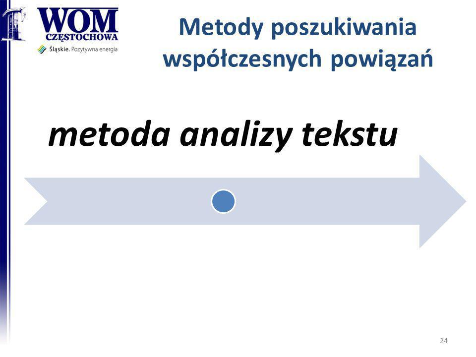 Metody poszukiwania współczesnych powiązań metoda analizy tekstu 24