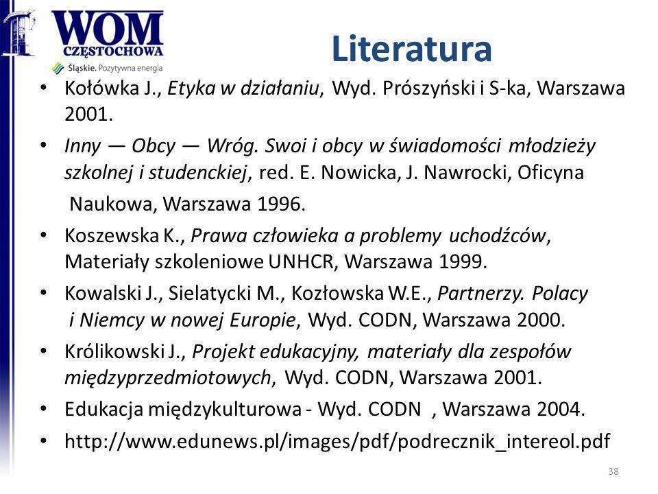 Literatura Kołówka J., Etyka w działaniu, Wyd. Prószyński i S-ka, Warszawa 2001. Inny Obcy Wróg. Swoi i obcy w świadomości młodzieży szkolnej i studen