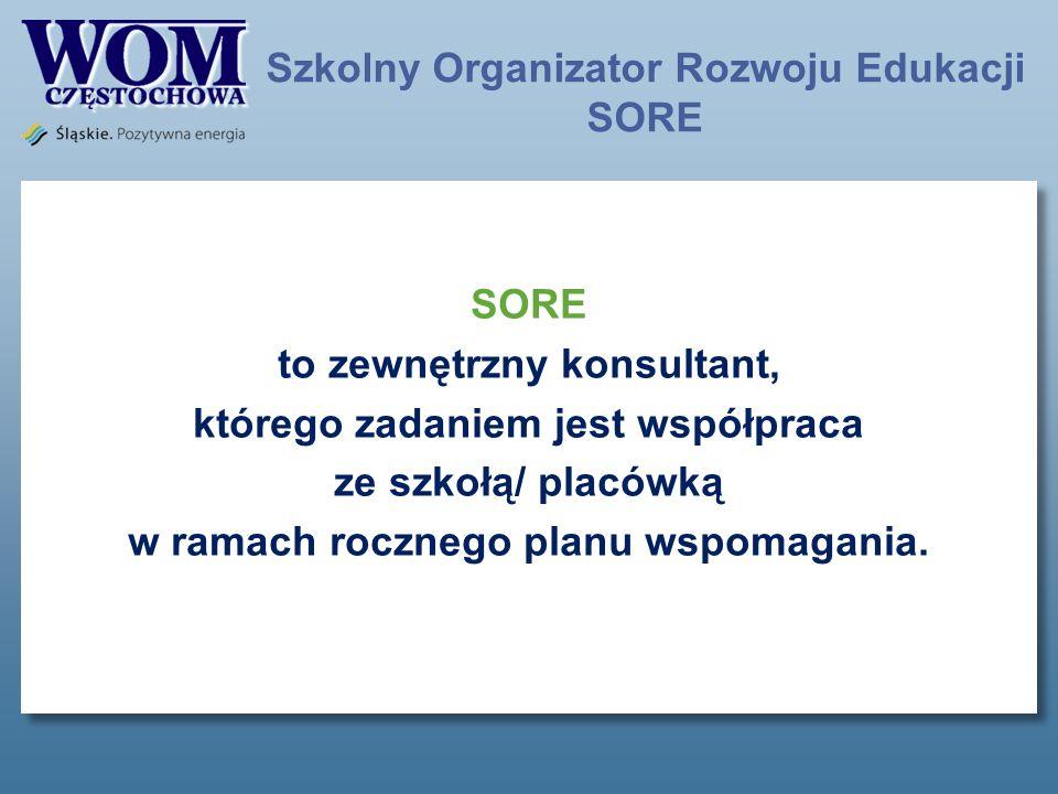 Szkolny Organizator Rozwoju Edukacji SORE SORE to zewnętrzny konsultant, którego zadaniem jest współpraca ze szkołą/ placówką w ramach rocznego planu wspomagania.