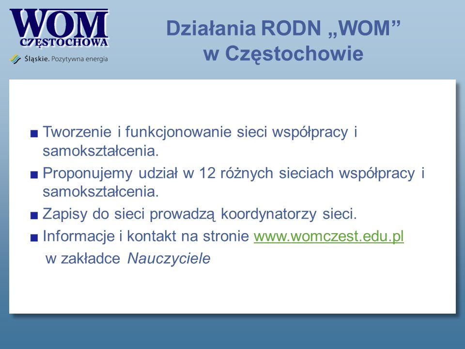 Działania RODN WOM w Częstochowie Tworzenie i funkcjonowanie sieci współpracy i samokształcenia.