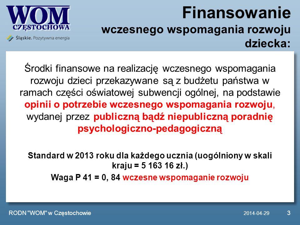 Finansowanie wczesnego wspomagania rozwoju dziecka: 2014-04-29 RODN WOM w Częstochowie3 Środki finansowe na realizację wczesnego wspomagania rozwoju dzieci przekazywane są z budżetu państwa w ramach części oświatowej subwencji ogólnej, na podstawie opinii o potrzebie wczesnego wspomagania rozwoju, wydanej przez publiczną bądź niepubliczną poradnię psychologiczno-pedagogiczną Standard w 2013 roku dla każdego ucznia (uogólniony w skali kraju = 5 163 16 zł.) Waga P 41 = 0, 84 wczesne wspomaganie rozwoju