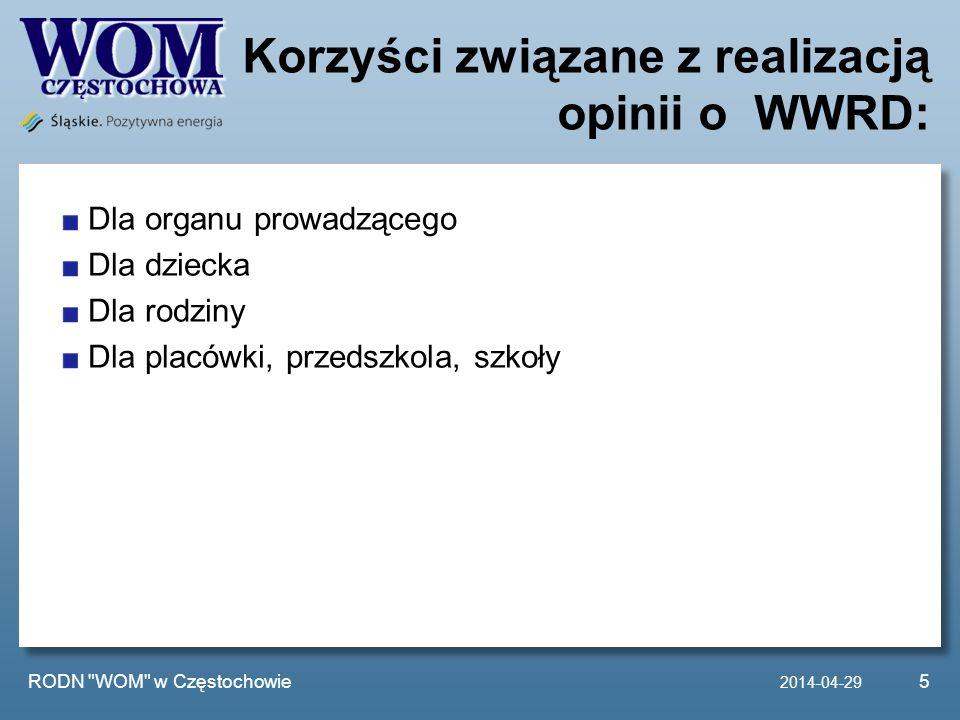 Działania RODN WOM w Częstochowie: W roku szkolnym 2012/2013 prowadziliśmy procesowe wspomaganie w dwóch szkołach znajdujących się na terenie powiatu częstochowskiego i kłobuckiego.