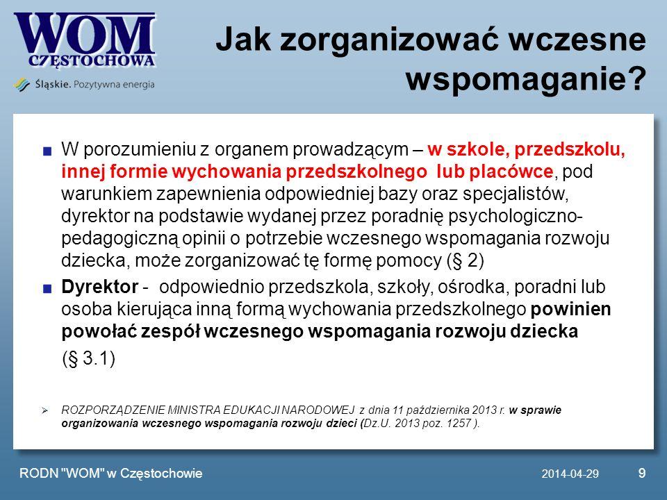 Działania RODN WOM w Częstochowie ZAPRASZAMY szkoły i placówki do współpracy w ramach procesowego wspomagania.
