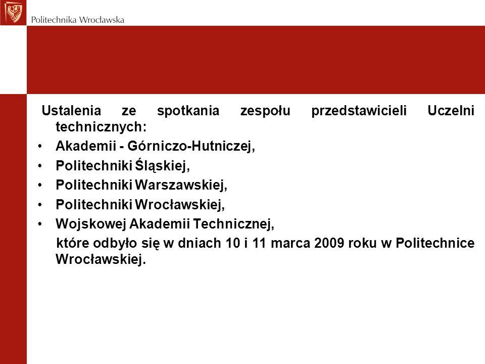 Ustalenia ze spotkania zespołu przedstawicieli Uczelni technicznych: Akademii - Górniczo-Hutniczej, Politechniki Śląskiej, Politechniki Warszawskiej, Politechniki Wrocławskiej, Wojskowej Akademii Technicznej, które odbyło się w dniach 10 i 11 marca 2009 roku w Politechnice Wrocławskiej.