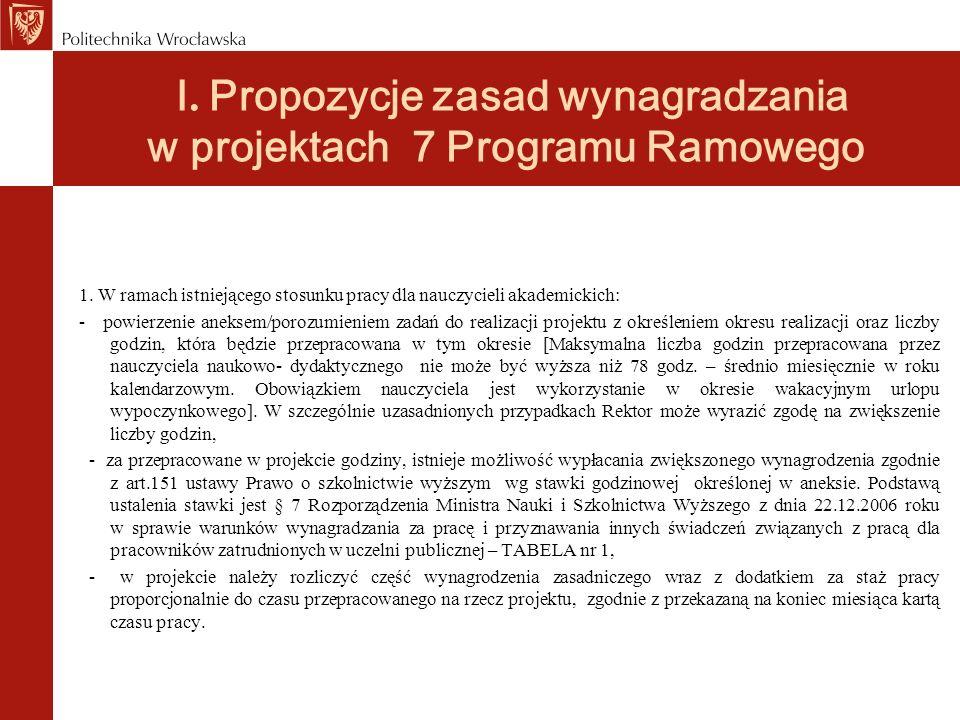 I. Propozycje zasad wynagradzania w projektach 7 Programu Ramowego 1. W ramach istniejącego stosunku pracy dla nauczycieli akademickich: - powierzenie