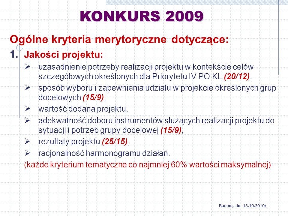 KONKURS 2009 Radom, dn. 13.10.2010r. Ogólne kryteria merytoryczne dotyczące: 1.