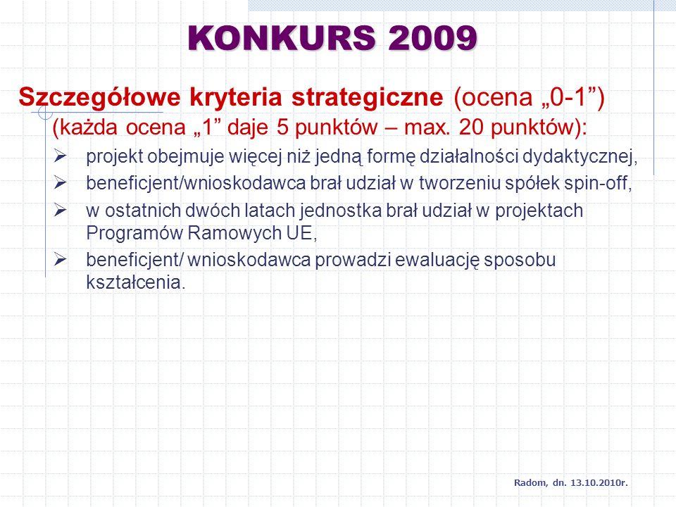 KONKURS 2009 Radom, dn. 13.10.2010r.
