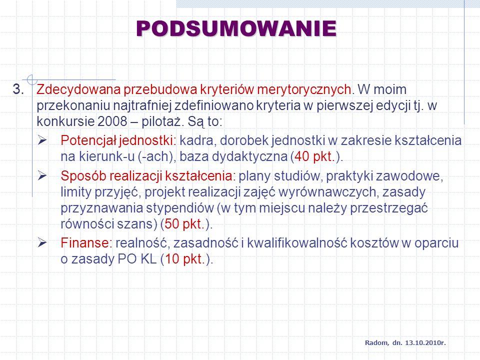 PODSUMOWANIE Radom, dn. 13.10.2010r. 3. Zdecydowana przebudowa kryteriów merytorycznych.