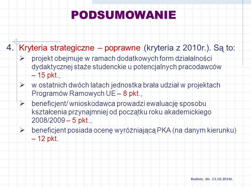 PODSUMOWANIE 4. Kryteria strategiczne – poprawne (kryteria z 2010r.).