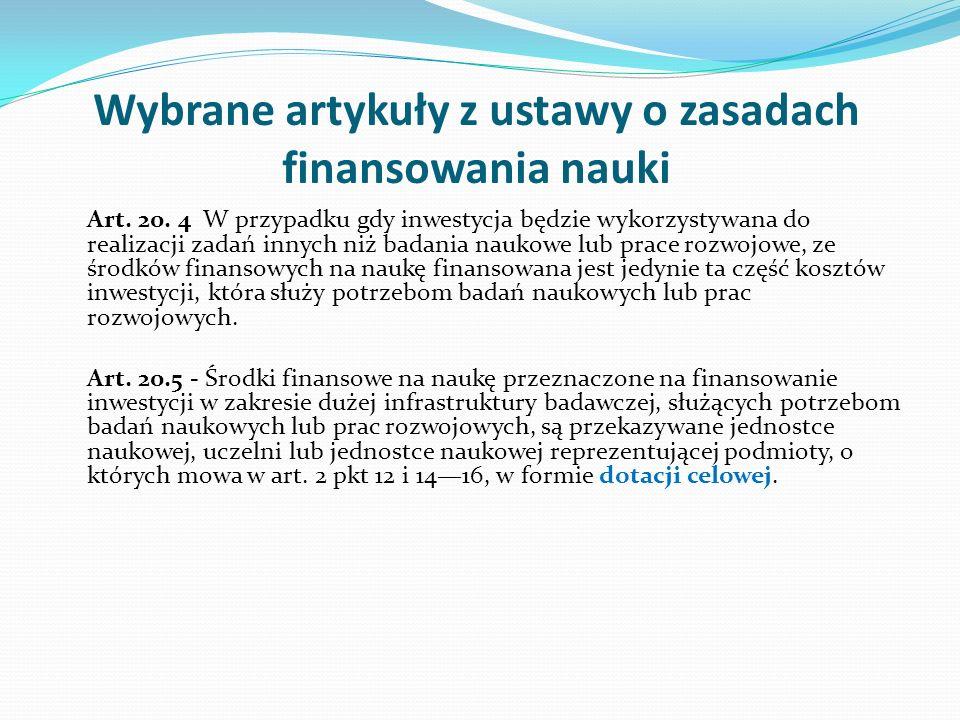 Wybrane artykuły z ustawy o zasadach finansowania nauki Art. 20. 4 W przypadku gdy inwestycja będzie wykorzystywana do realizacji zadań innych niż bad