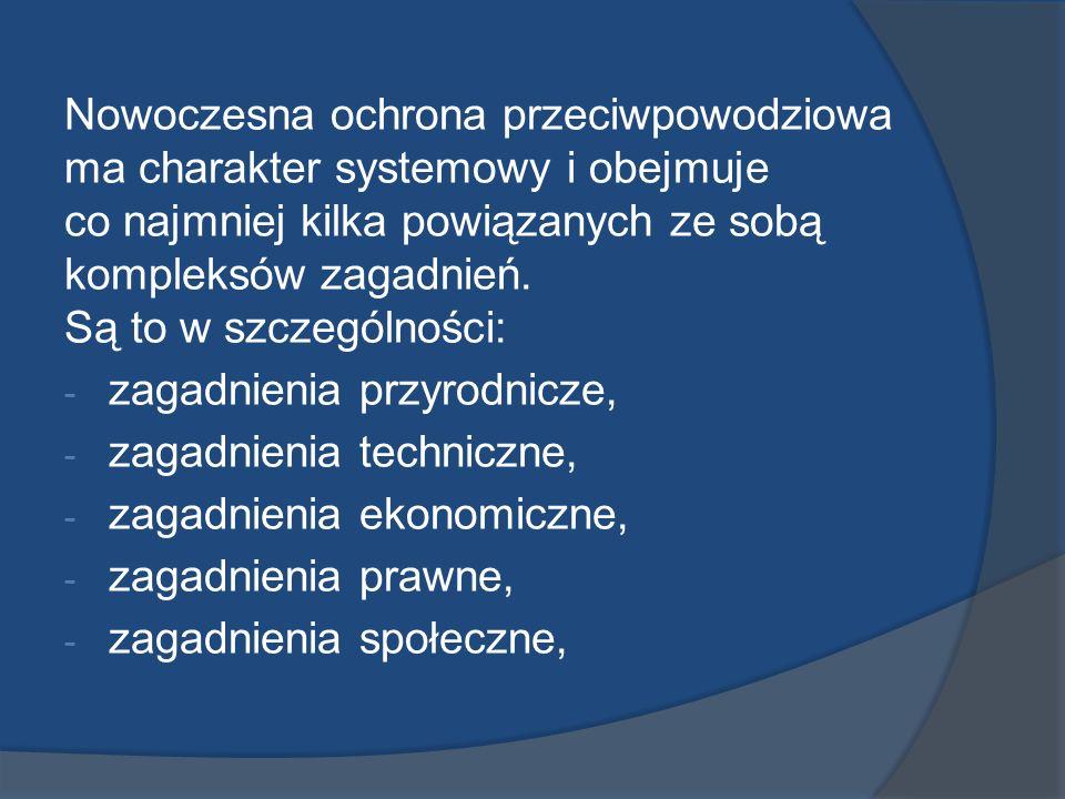 Nowoczesna ochrona przeciwpowodziowa ma charakter systemowy i obejmuje co najmniej kilka powiązanych ze sobą kompleksów zagadnień. Są to w szczególnoś
