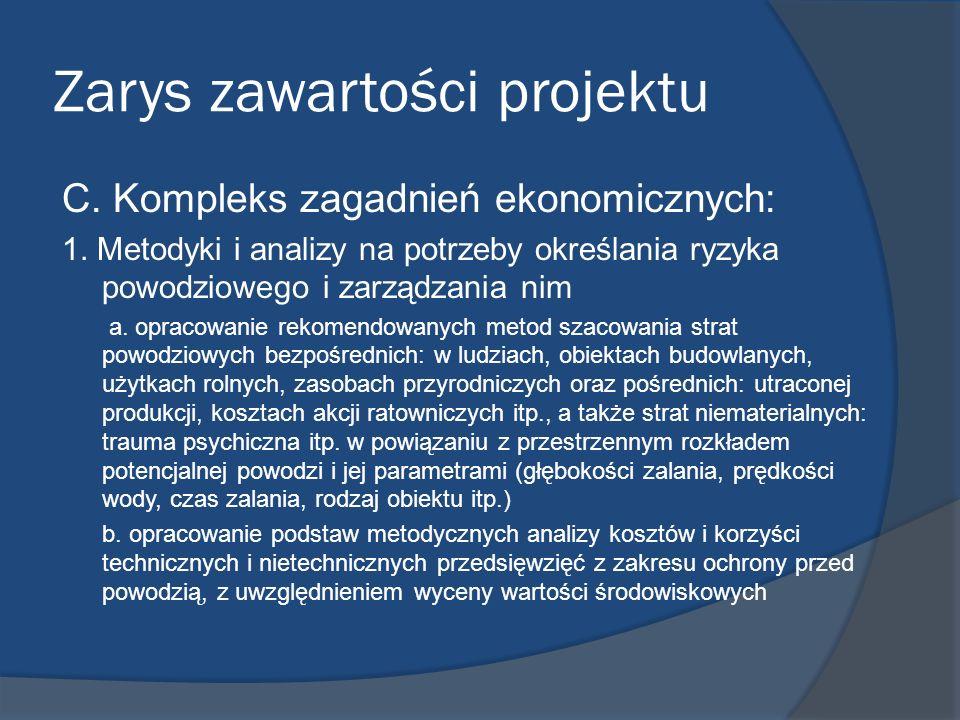 Zarys zawartości projektu C. Kompleks zagadnień ekonomicznych: 1. Metodyki i analizy na potrzeby określania ryzyka powodziowego i zarządzania nim a. o