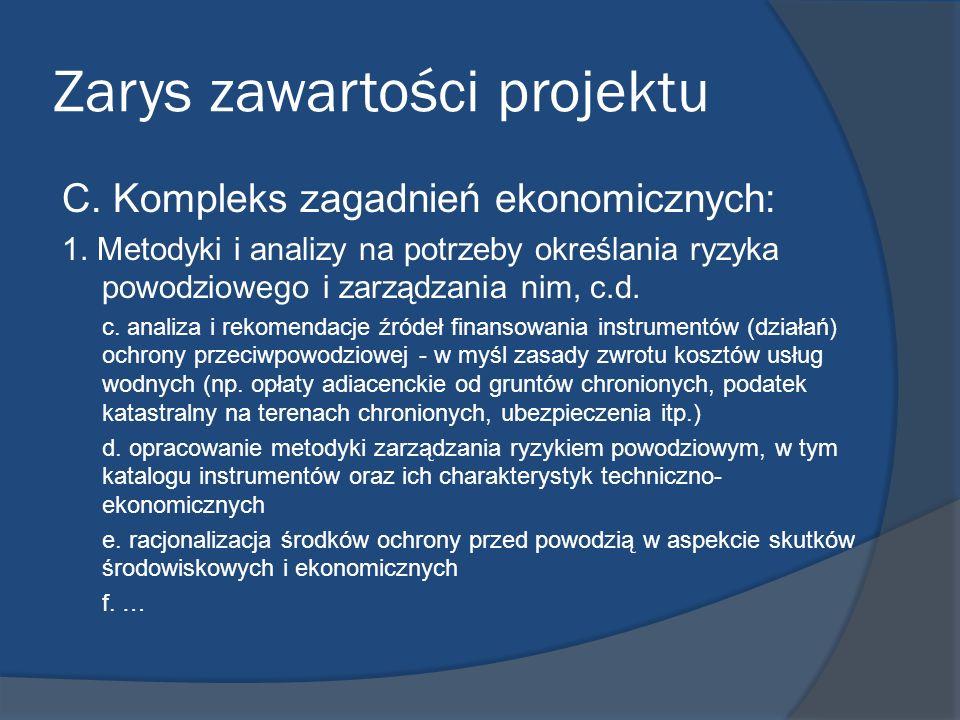 Zarys zawartości projektu C. Kompleks zagadnień ekonomicznych: 1. Metodyki i analizy na potrzeby określania ryzyka powodziowego i zarządzania nim, c.d
