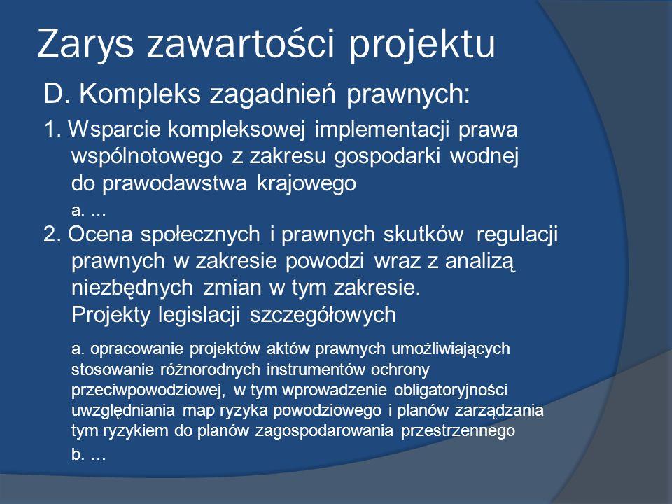 Zarys zawartości projektu D. Kompleks zagadnień prawnych: 1. Wsparcie kompleksowej implementacji prawa wspólnotowego z zakresu gospodarki wodnej do pr