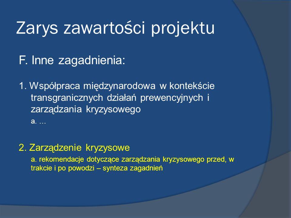 Zarys zawartości projektu F. Inne zagadnienia: 1. Współpraca międzynarodowa w kontekście transgranicznych działań prewencyjnych i zarządzania kryzysow
