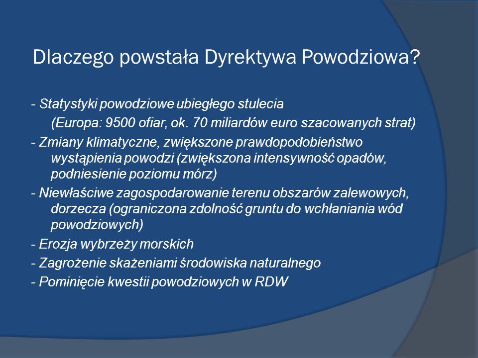 Dlaczego powstała Dyrektywa Powodziowa? - Statystyki powodziowe ubiegłego stulecia (Europa: 9500 ofiar, ok. 70 miliardów euro szacowanych strat) - Zmi