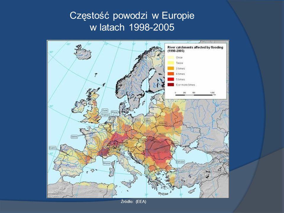 Częstość powodzi w Europie w latach 1998-2005 Źródło: (EEA)