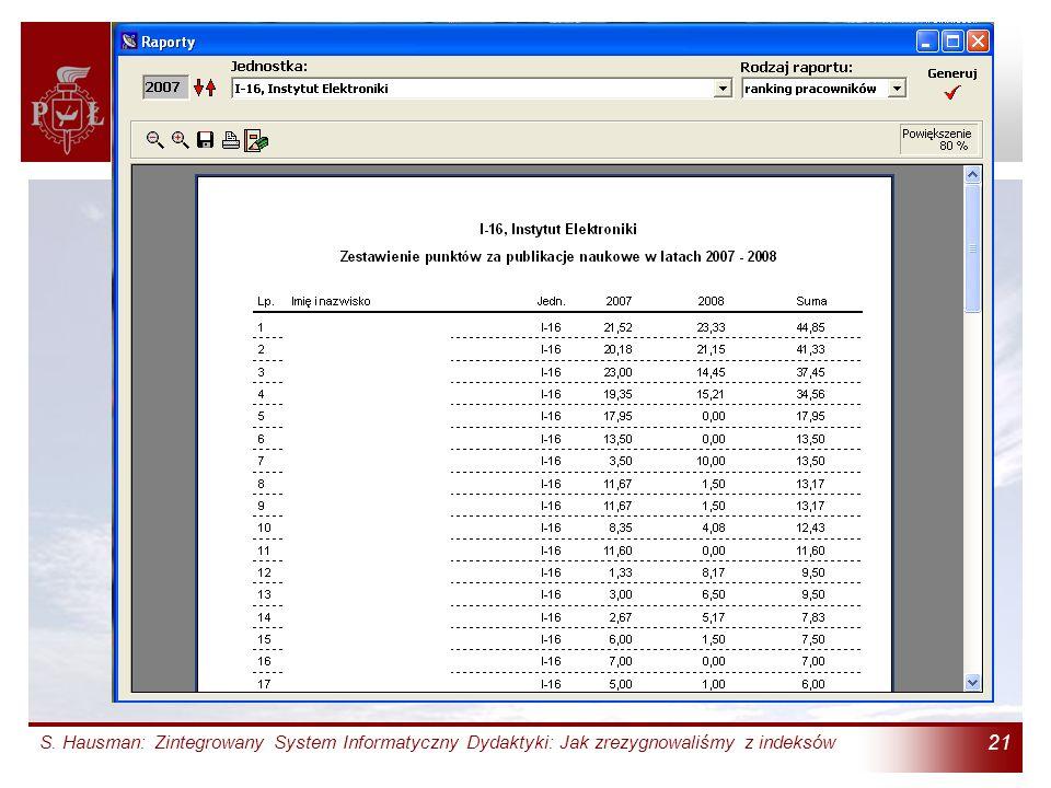 S. Hausman: Zintegrowany System Informatyczny Dydaktyki: Jak zrezygnowaliśmy z indeksów 21 Terminal Badań Naukowych (6)