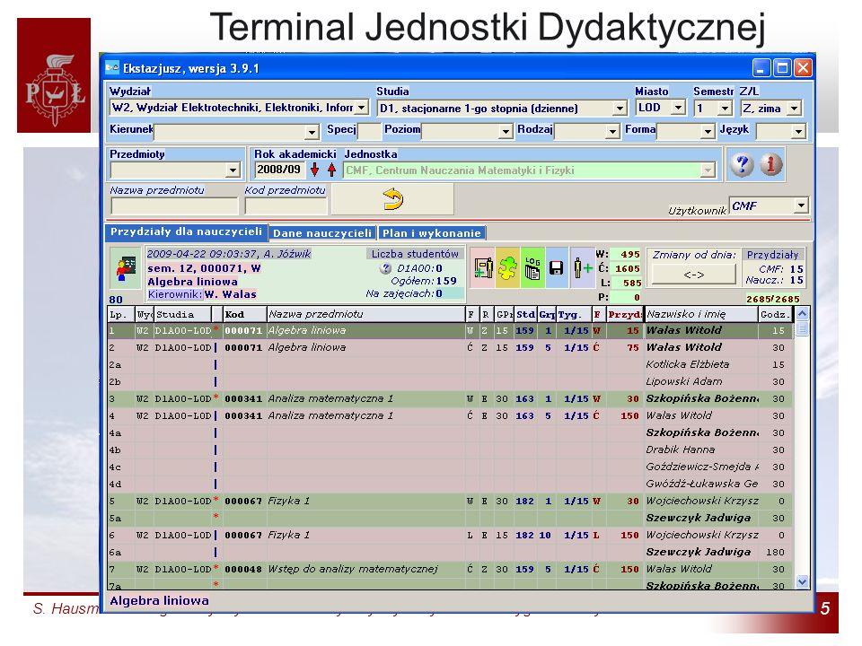 S. Hausman: Zintegrowany System Informatyczny Dydaktyki: Jak zrezygnowaliśmy z indeksów 5 Terminal Jednostki Dydaktycznej (4) Terminal Jednostki Dydak