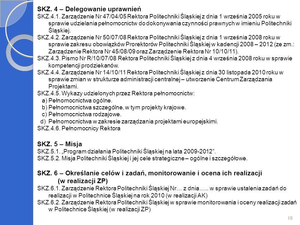 18 SKZ. 4 – Delegowanie uprawnień SKZ.4.1. Zarządzenie Nr 47/04/05 Rektora Politechniki Śląskiej z dnia 1 września 2005 roku w sprawie udzielania pełn