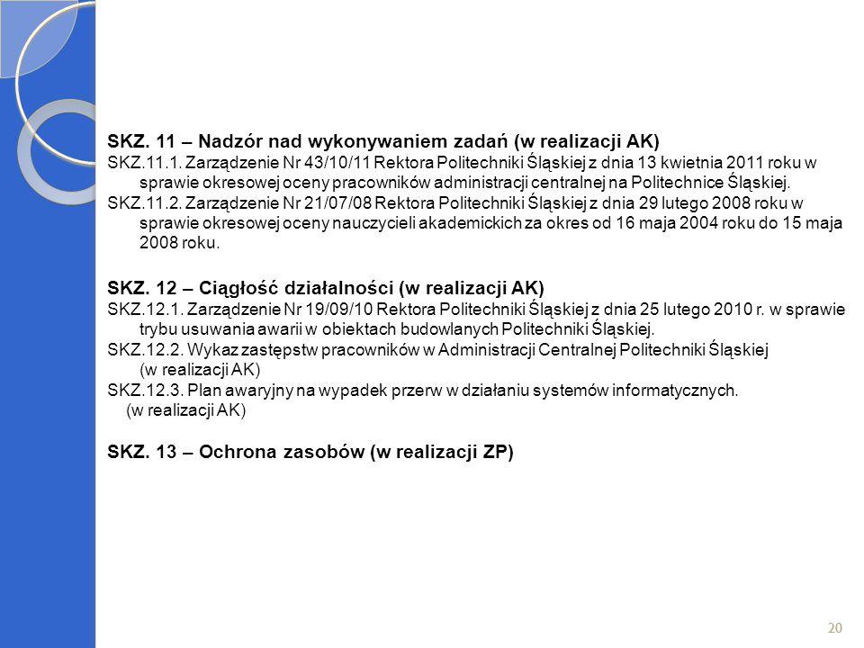 20 SKZ. 11 – Nadzór nad wykonywaniem zadań (w realizacji AK) SKZ.11.1. Zarządzenie Nr 43/10/11 Rektora Politechniki Śląskiej z dnia 13 kwietnia 2011 r