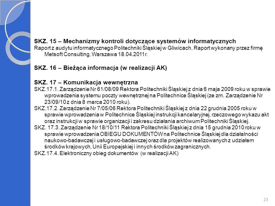 23 SKZ. 15 – Mechanizmy kontroli dotyczące systemów informatycznych Raport z audytu informatycznego Politechniki Śląskiej w Gliwicach. Raport wykonany