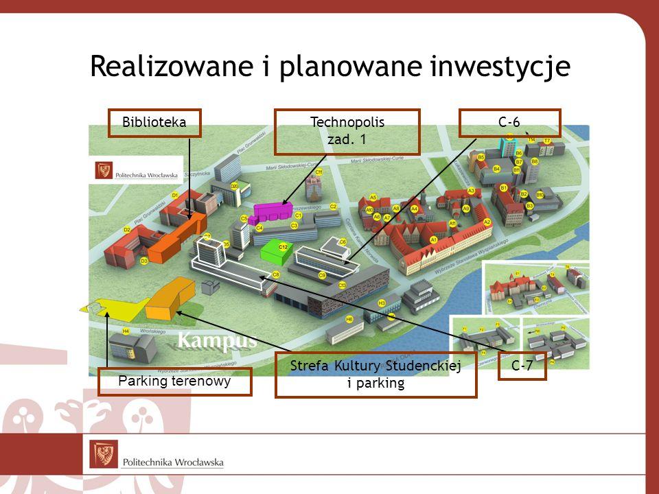 Realizowane i planowane inwestycje BibliotekaTechnopolis zad. 1 Parking terenowy Strefa Kultury Studenckiej i parking C-6 C-7