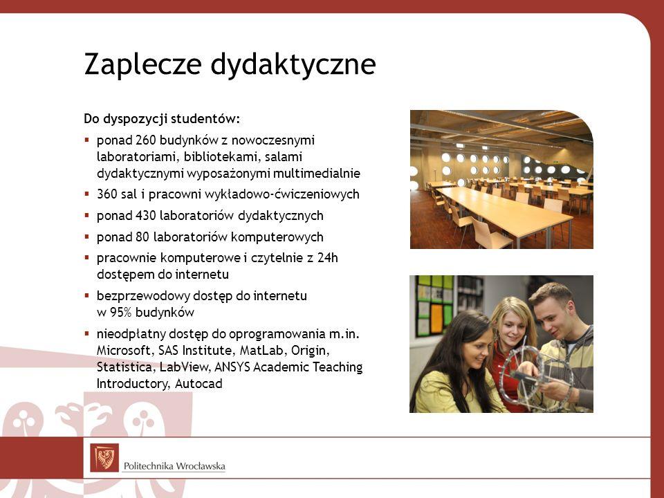 Do dyspozycji studentów: ponad 260 budynków z nowoczesnymi laboratoriami, bibliotekami, salami dydaktycznymi wyposażonymi multimedialnie 360 sal i pra