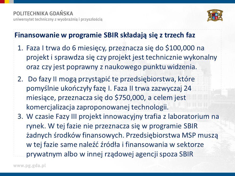 Finansowanie w programie SBIR składają się z trzech faz 1.Faza I trwa do 6 miesięcy, przeznacza się do $100,000 na projekt i sprawdza się czy projekt jest technicznie wykonalny oraz czy jest poprawny z naukowego punktu widzenia.