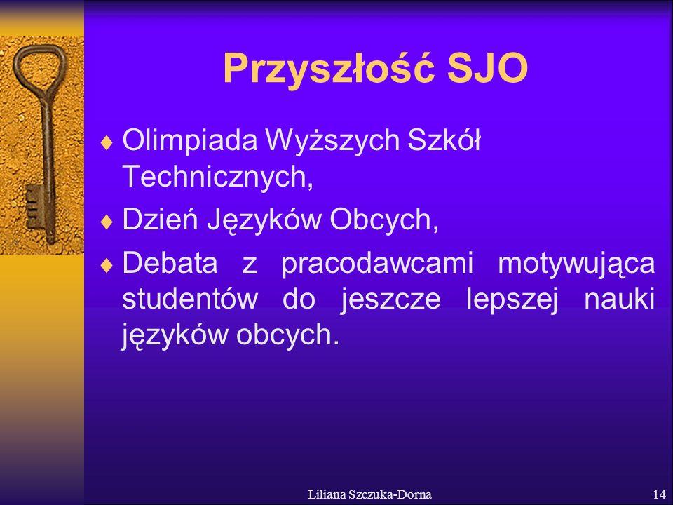 Liliana Szczuka-Dorna14 Przyszłość SJO Olimpiada Wyższych Szkół Technicznych, Dzień Języków Obcych, Debata z pracodawcami motywująca studentów do jeszcze lepszej nauki języków obcych.
