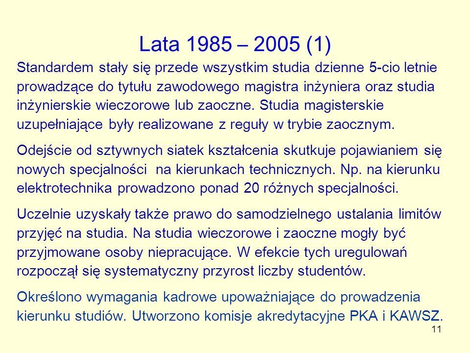 11 Lata 1985 – 2005 (1) Standardem stały się przede wszystkim studia dzienne 5-cio letnie prowadzące do tytułu zawodowego magistra inżyniera oraz stud