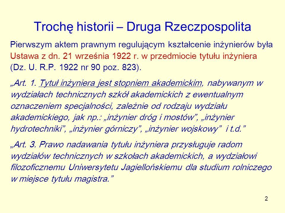 2 Trochę historii – Druga Rzeczpospolita Pierwszym aktem prawnym regulującym kształcenie inżynierów była Ustawa z dn. 21 września 1922 r. w przedmioci