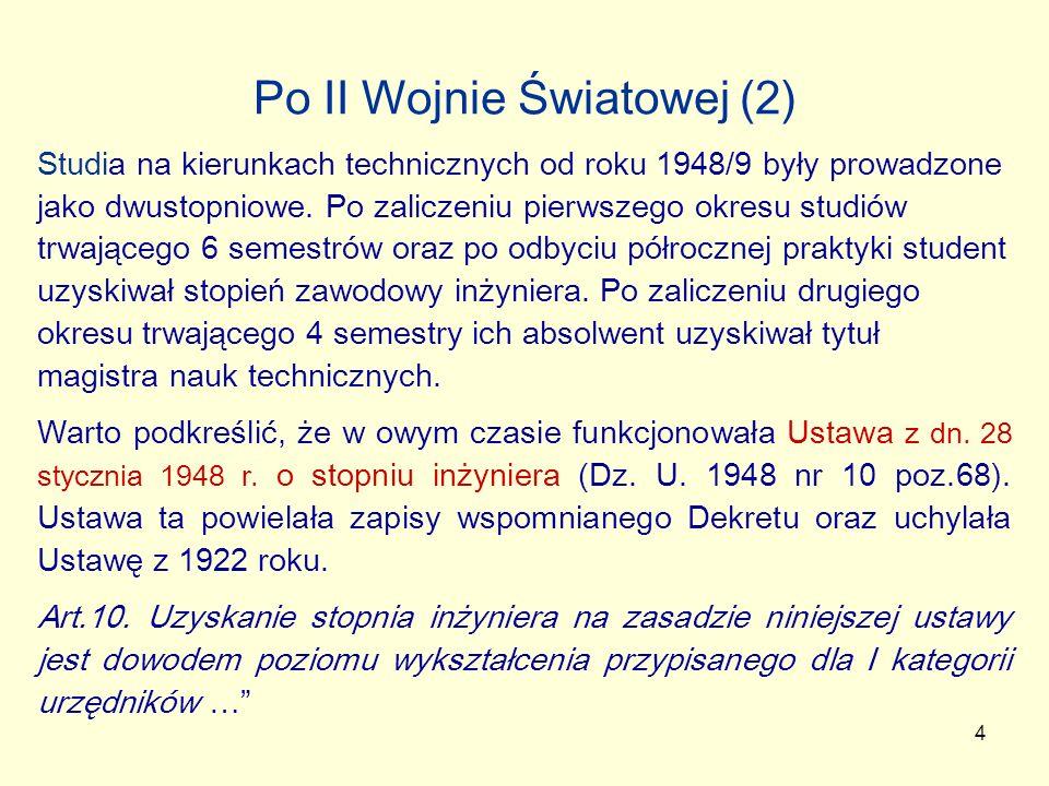 5 Po II Wojnie Światowej (3) W roku 1952 dokonano reorganizacji studiów na kierunkach technicznych i ich pierwszy stopień przedłużono do czterech lat, a studia drugiego stopnia skrócono do półtora roku.