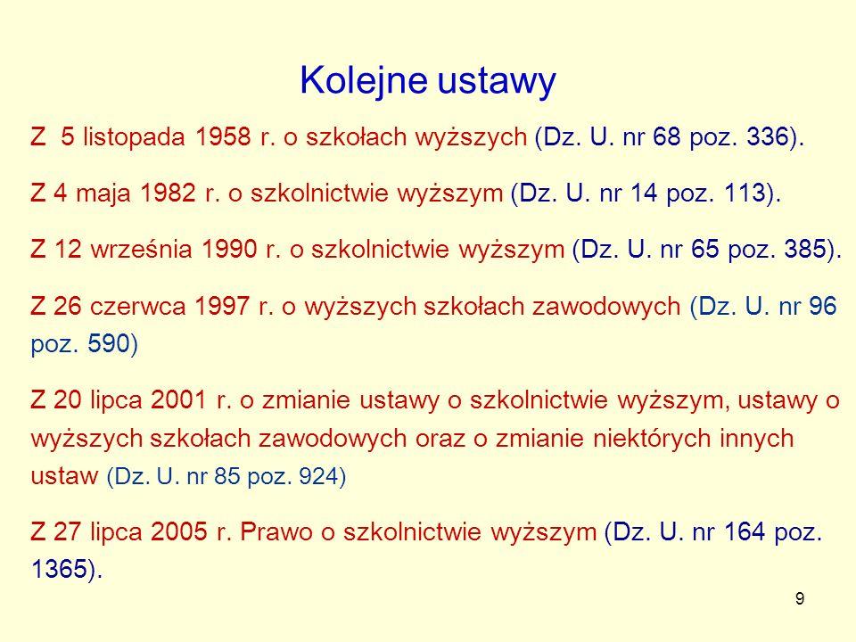 9 Kolejne ustawy Z 5 listopada 1958 r. o szkołach wyższych (Dz. U. nr 68 poz. 336). Z 4 maja 1982 r. o szkolnictwie wyższym (Dz. U. nr 14 poz. 113). Z