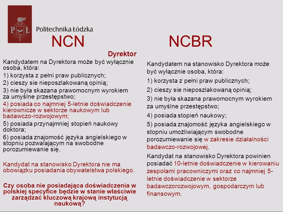 NCN NCBR Dyrektor Kandydatem na Dyrektora może być wyłącznie osoba, która: 1) korzysta z pełni praw publicznych; 2) cieszy sie nieposzlakowaną opinią;