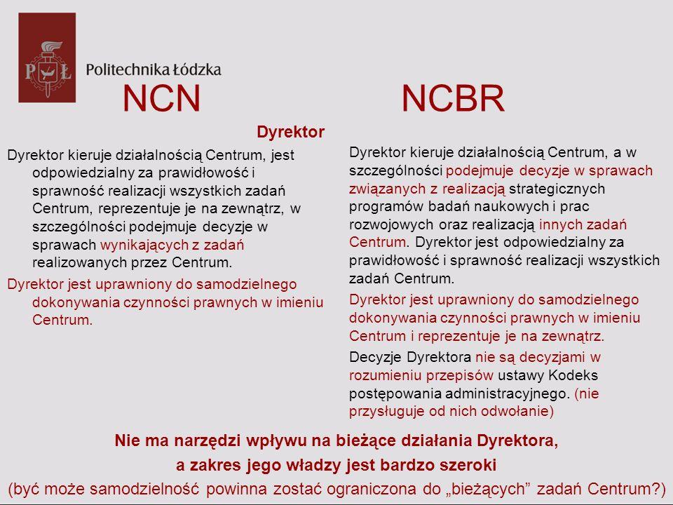 NCN NCBR Dyrektor Dyrektor kieruje działalnością Centrum, jest odpowiedzialny za prawidłowość i sprawność realizacji wszystkich zadań Centrum, repreze