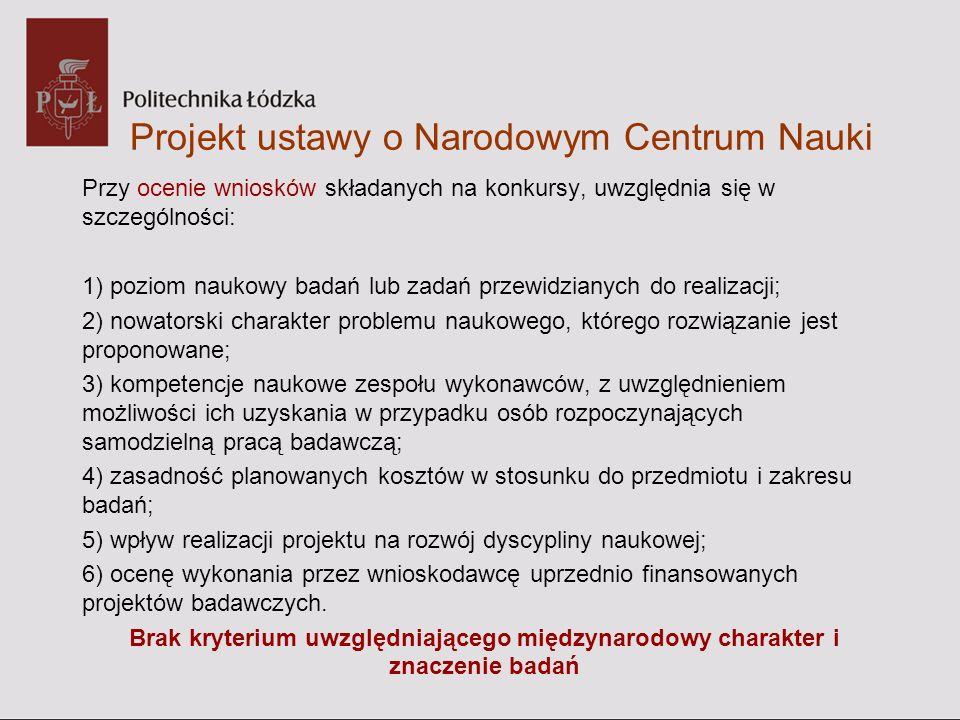 Projekt ustawy o Narodowym Centrum Nauki Przy ocenie wniosków składanych na konkursy, uwzględnia się w szczególności: 1) poziom naukowy badań lub zada